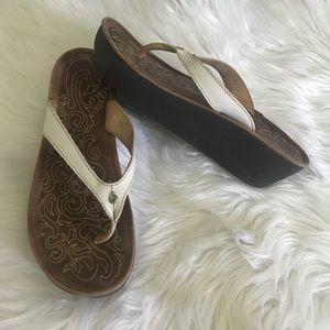 Olukai Paniolo Wedge Sandals Leather White
